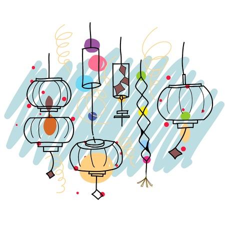 multicolor lantern: lantern festival artistic hand-drawn illustration