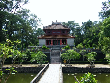 Trung Dao bridge and pavilion at Minh Mang Emperor Royal Tomb in Hue, Vietnam