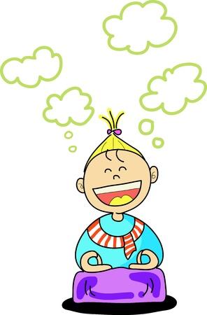 практика: Счастливый малыш практика медитации мультфильм рисованной иллюстрации