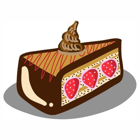 hand-drawn chocolate strawberry cake illustration