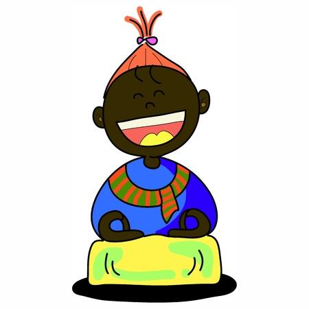 nirvana: happy kid practice meditation cartoon hand-drawn illustration Illustration