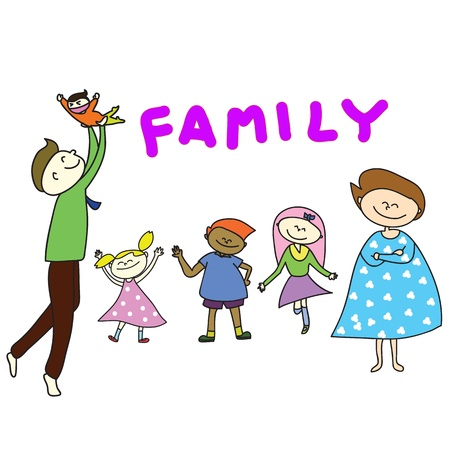 parent and teenager: hand-drawn cartoon happy family illustration