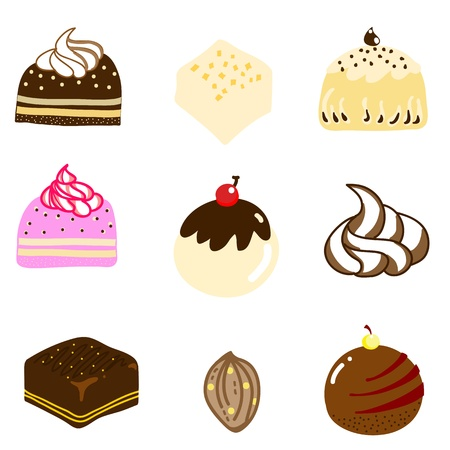 caramel:  collection of mixed chocolate candy hand-drawn illustration