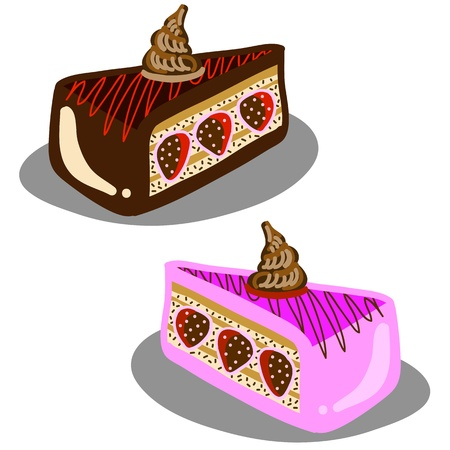 caramel sauce: hand-drawn chocolate strawberry cake illustration