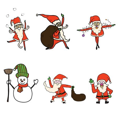 hand-drawn christmas cartoon set Vector