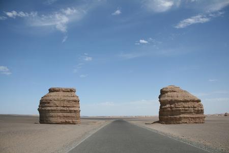 landforms: unique stone in yadan landforms, gobi desert, dunhuang, gansu province, china