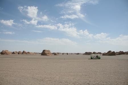landforms: eco tourist car in yadan landforms, gobi desert, dunhuang, gansu province, china Stock Photo