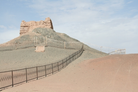 the ancient pass: sun gate Yang Guan pass Dunhuang China, part of ancient silk road and China ancient great wall in Han dynasty