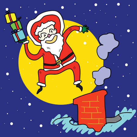 funny santa claus cartoon hand-drawn jump over chimney illustration Vector