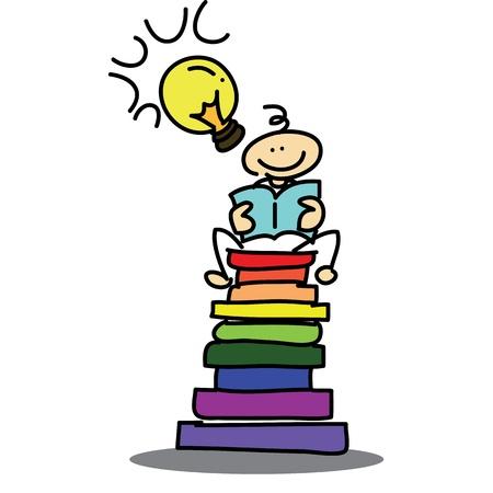 dessinés à la main rêve garçon de bande dessinée illustration livre de lecture