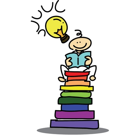 hand-drawn cartoon dream boy reading book illustration Stock Vector - 16325555