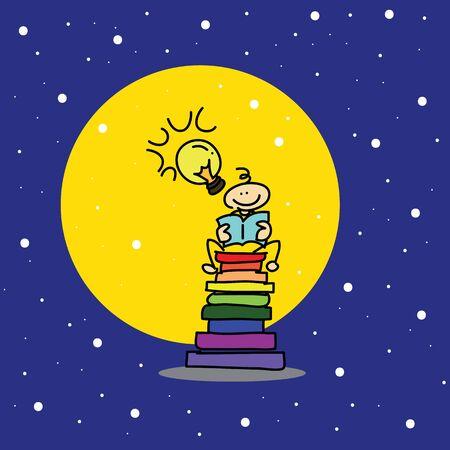 hand-drawn cartoon dream boy reading book illustration Stock Vector - 16325538