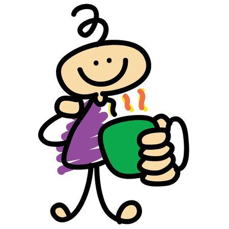 short break: coffee time cartoon character hand-drawn illustration