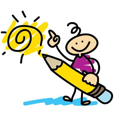 fictional character: cartoon hand-drawn artist concept illustration