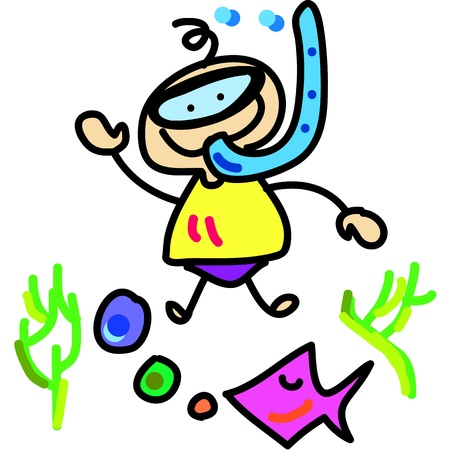 cartoon boy diving hand-drawn concept