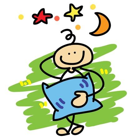 cartoon boy daydreaming hand-drawn concept Stock Vector - 16325561