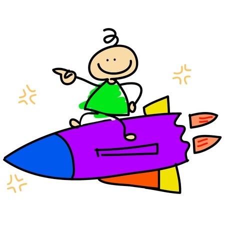 cartoon dreamboy riding rocket concept hand-drawn Stock Vector - 16325650