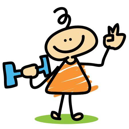 to weigh: cartoon boy weigh training hand-drawn character