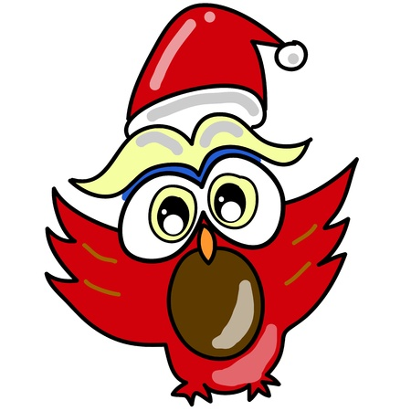 cartoon owl in santa hat hand-drawn for christmas Stock Vector - 16438068