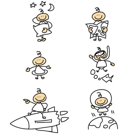 dreamer: hand-drawn cartoon character set