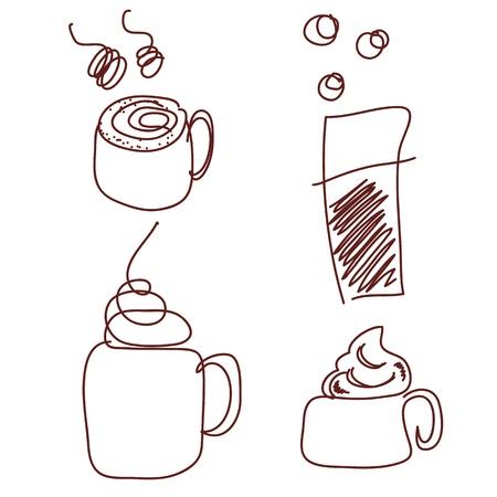 met de hand getekende koffiekopjes vector voor ontwerp Stock Illustratie