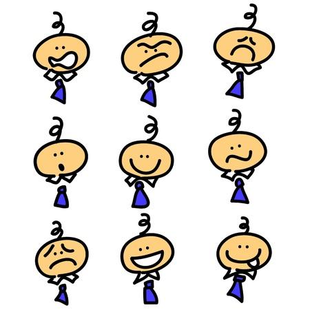 cartoon hand-drawn businessman emotion set for design