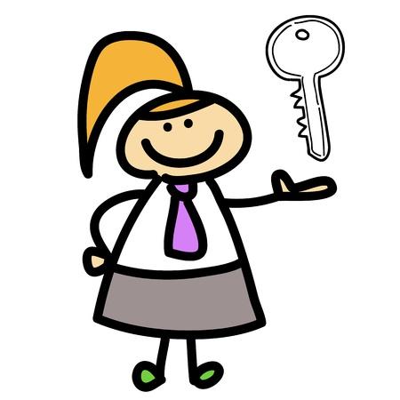 smart goals: cartoon business woman hand-drawn for design