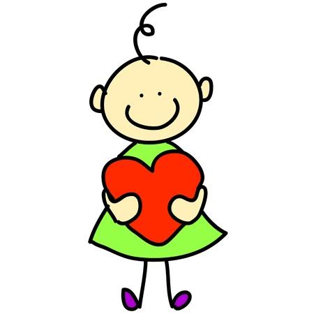 corazon en la mano: ni�a de dibujos animados dibujados a mano ilustraci�n amor