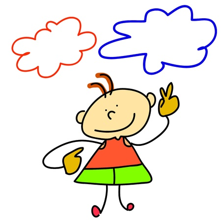 dreamer: funny boy cartoon hand-drawn for design