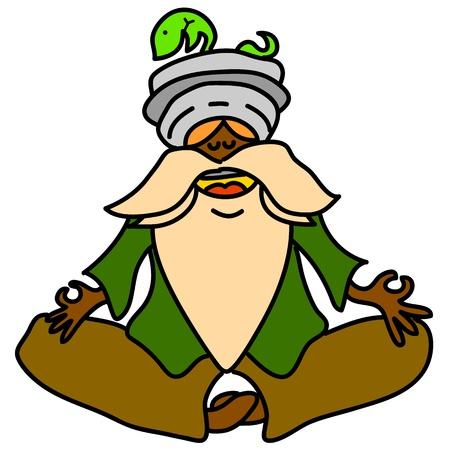 瞑想の手描きイラストを漫画します。
