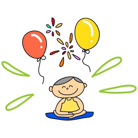 cartoon hand getekende illustratie meditatie Stock Illustratie