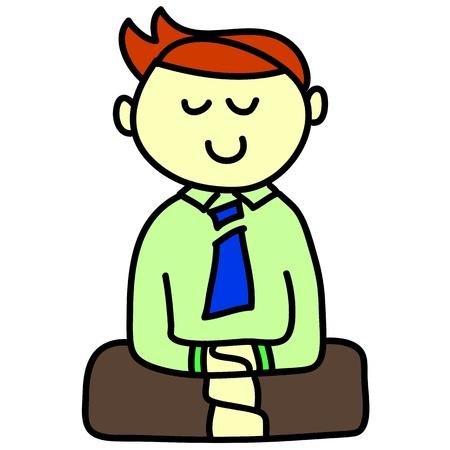 cartoon hand-drawn meditation illustration Stock Vector - 16544261