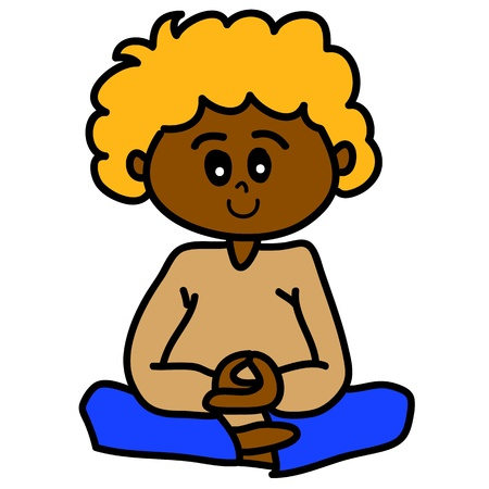 cartoon hand-drawn meditation illustration Vector