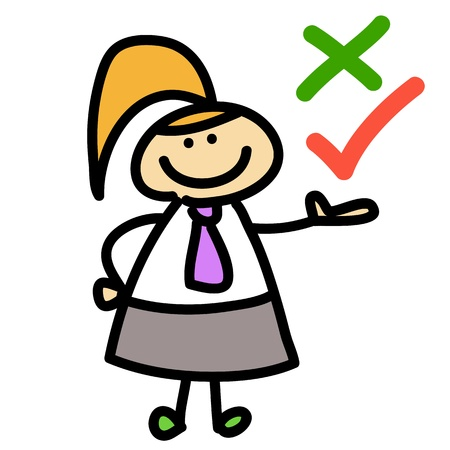 cartoon business woman decision hand-drawn for design Vector