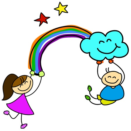 think positive: cartoon hand-drawn kids holding rainbow illustration