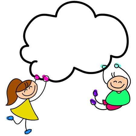 cartoon hand-drawn kids holding sky illustration Illustration