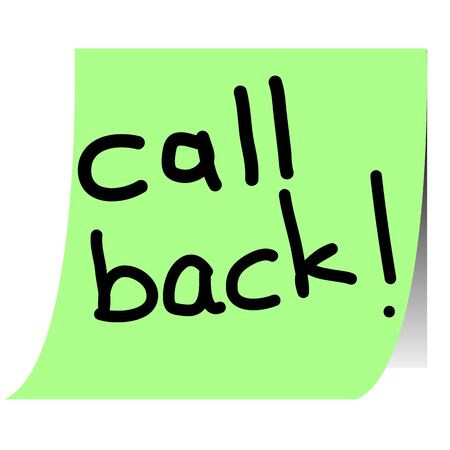 call back note paper sticker  Vector