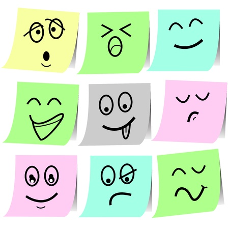 emotion sketch note on papersticker  for design Stock Vector - 16544248
