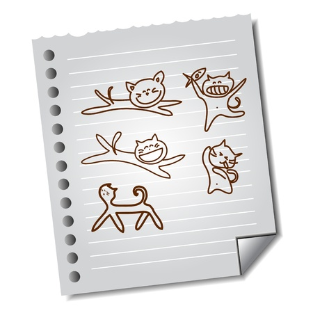 hand-drawn funny cat on paper note vector for design and presentation Stock Vector - 16564897