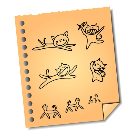 hand-drawn cartoon cat on paper note vector for design and presentation Stock Vector - 16564905