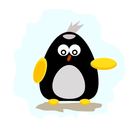 north pole sign: penguin cartoon character illustrator for design