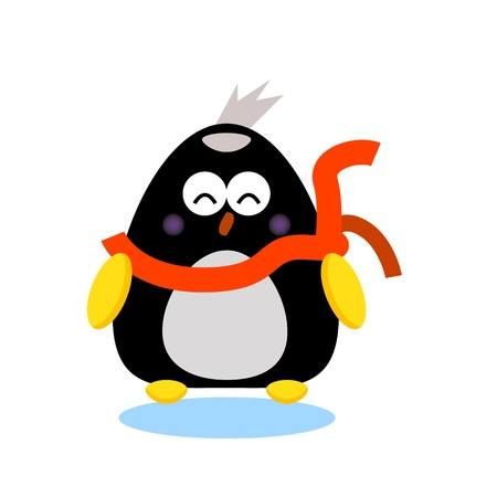 penguin cartoon character illustrator for design Vector