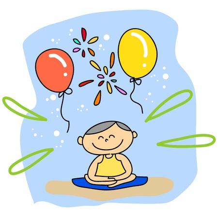 mind body soul: cartoon hand-drawn meditation illustration Illustration