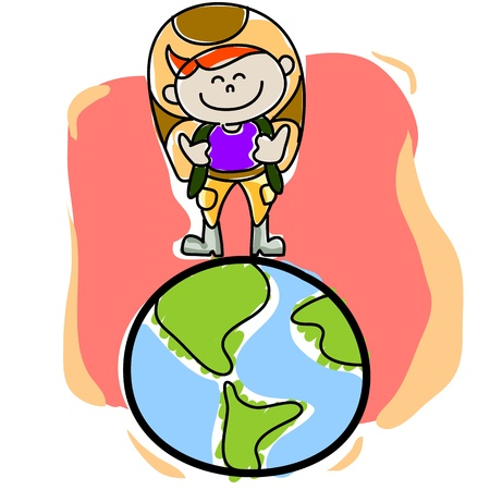 hand-drawn cartoon traveller on the planet earth Vector