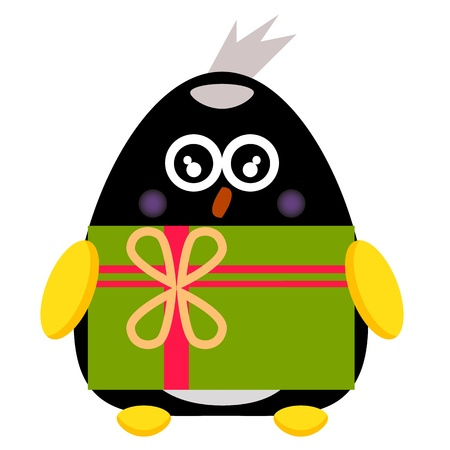 penguin cartoon character with gift box illustration Vector