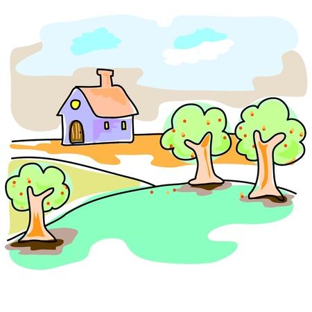 rekolekcje: ręcznie rysowane wymarzony dom w naturalny krajobraz ilustracji Ilustracja