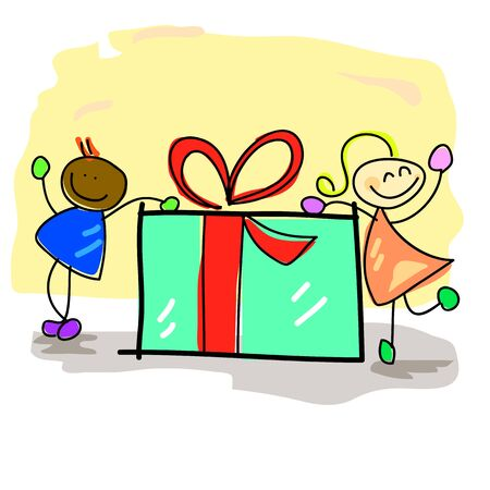 hand-drawn kids with the gift box illustration Stock Vector - 16607058
