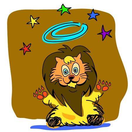 lion king: Lion King cartoon hand-drawn illustration