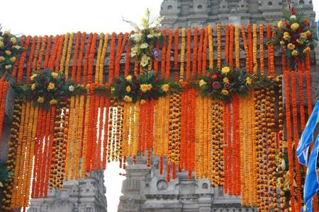 bodhgaya: Garland at Bodhgaya monastery, India for paying respect to buddha