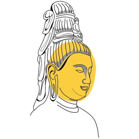 peacefull: Face of Buddha Hand-drawn Illustration